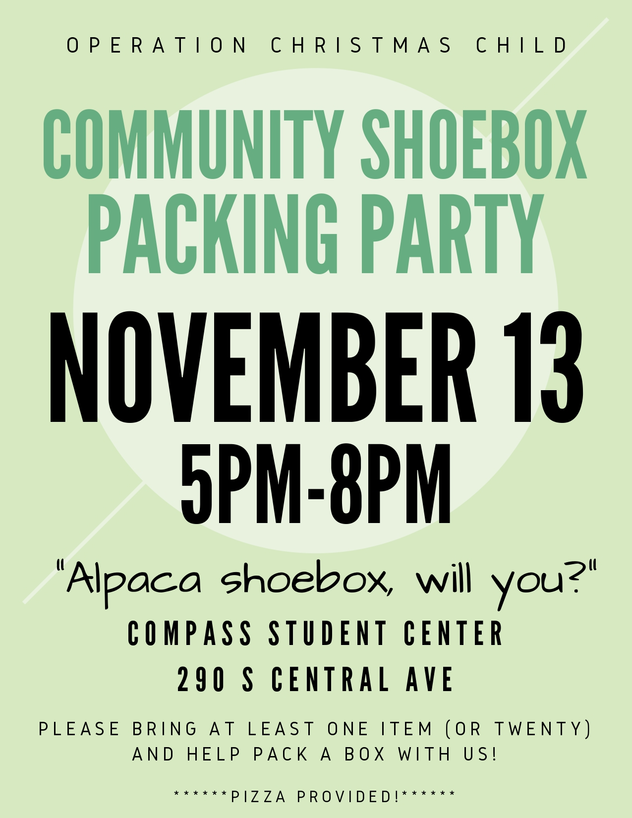 Community Shoebox Packing Party